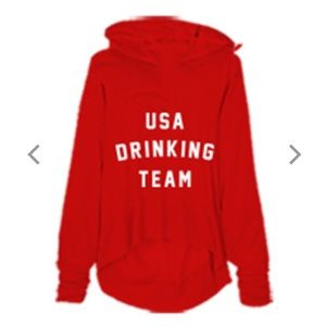 """NEW NWT Wildfox """"US DRINKING TEAM"""" Red Hoodie"""